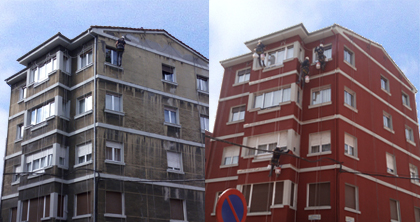 Fachadas Antes y después
